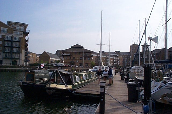 Narrowboats in Limehouse Dock, London