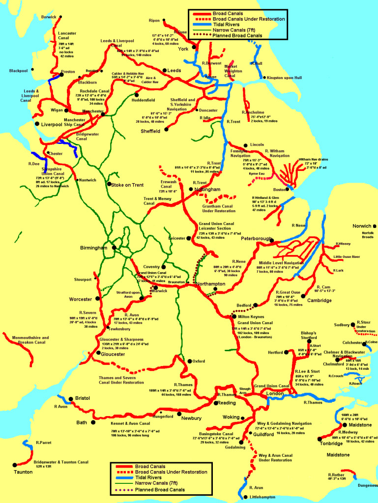 British Canal Map Map Of England Rivers